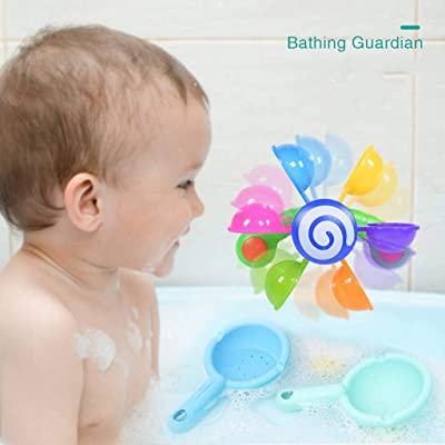 Educational Dolls, Baby Bath Toys Kids Tub Windmill Waterwheel Water Time Fun Children Take A Shower and Play Water Windmill with Spoon Infant Children's Bathroom Play Rainbow: Arts, Crafts & Sewing