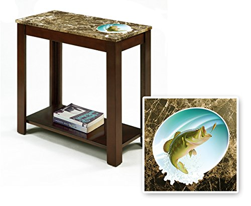 New Rectangular Top Espresso / Cappuccino Finish Night Stand End Table featuring Bass Fish Theme
