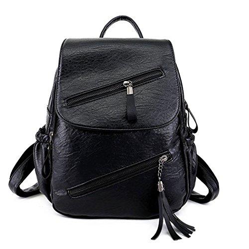 Women Fashion Backpacks Totes Handbags Shoulder Bags Top-Handle School Laptop Daypack PU Leather Black