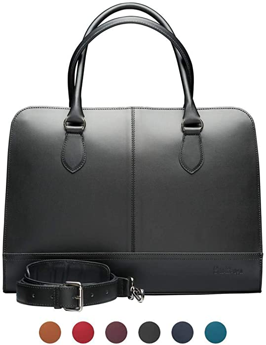 Su.B.dgn 15.6 Inch Laptop Bag with Trolley Strap for Women - Leather Briefcase, Handbag, Messenger Bag - Black
