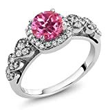 1.32 Ct Round Pink Mystic Topaz 925 Sterling Silver Ring (Available in size 5, 6, 7, 8, 9)