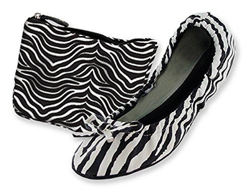 Ballerine Pieghevoli Da Donna Con Stampa Zebra Con Custodia Per Il Trasporto