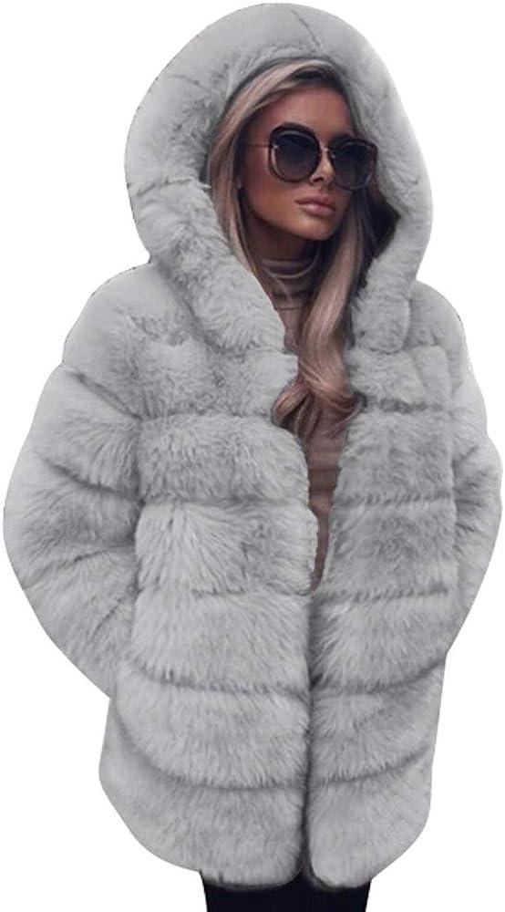 Abrigos Mujer Invierno Rebajas Elegantes Talla Grande Piel SintéTica Moda con Capucha Abrigo CáLido De Invierno De OtoñO