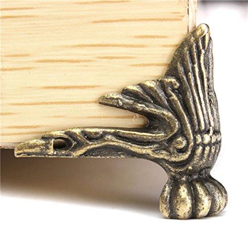 4 X Antique Brass Jewelry Gift Box Wood Case Decorative F...