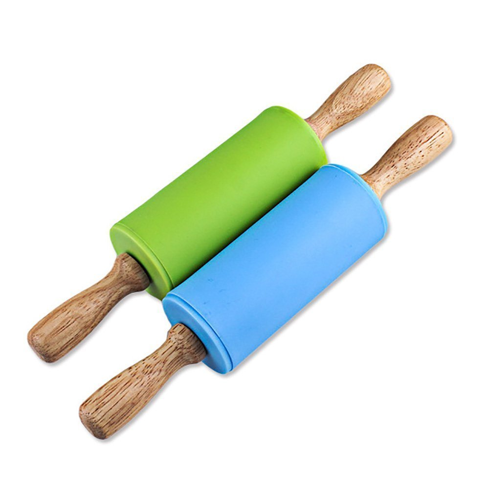 Silicone Rolling Pin Non-stick Surface Wooden Handle for Children 22cm Pack of 2 Log-Cabin