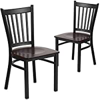 Flash Furniture 2 Pk. HERCULES Series Black Vertical Back Metal Restaurant Chair - Walnut Wood Seat