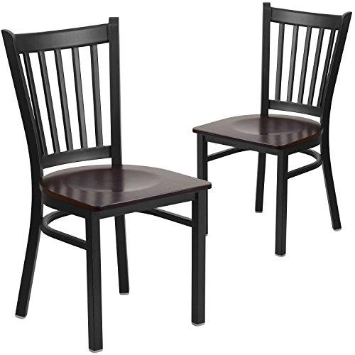 Flash Furniture 2 Pk. HERCULES Series Black Vertical Back Metal Restaurant Chair - Walnut Wood Seat