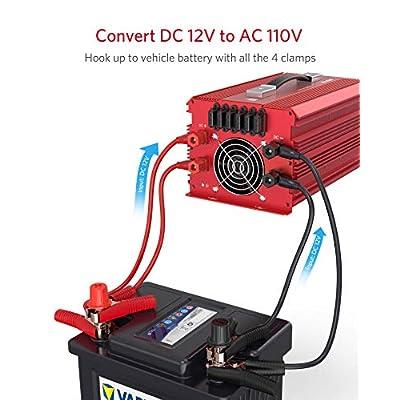 BESTEK 2000W Power Inverter 3 AC Outlets DC 12V to 110V AC Car Power Converter for Camping Outdoor Power Supply ETL Listed: Electronics