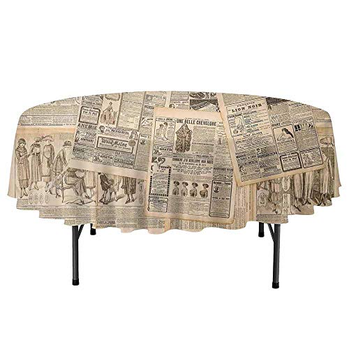 Douglas Hill Antique Waterproof Anti-Wrinkle no Pollution Newspaper Pages with Advertising and Fashion Magazine Woman Edwardian Publicity Image Round Tablecloth D55 Inch Cream -
