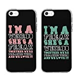 "iPhone5 5SE 5S CASES-TTOTT Floral FASHION Cute BFF Phone 2 Pieces Cases Weirdo and Freak Black Matching Best Friends Phone Cases Christmas Gift for BFF iPhone5 5SE 5S-4""INCH"