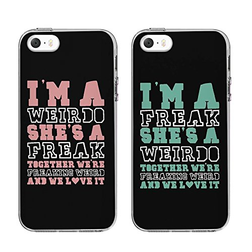TTOTT BFF IPHONE 5S/SE CASE,Weirdo and Freak Black Matching Best Friends Phone Cases Christmas Gift for BFF Left iPhone 5S/5 Right iPhone 5 (Best Friend Cases For Iphone 5)