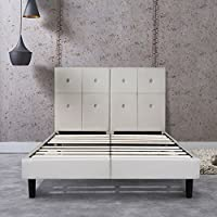 PrimaSleep 14 Inch Dura Metal Faux Leather Wood Bed Frame with headboard Light Grey (Queen) 14PB05Q