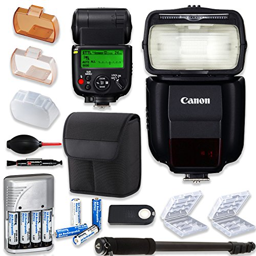 Canon Speedlite 430EX III-RT Flash + Canon Speedlite Case + Monopod + 4 High Capacity AA Rechargeable Batteries & Charger + 2X Battery Case + Accessory Bundle