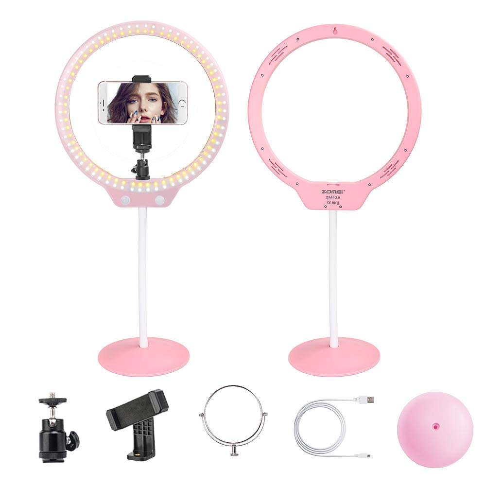 "Selfie Desktop Ring Light ,ZOMEI 10""7.5W 3200-5500K Dimmable Ring Light with Mirror for YouTube,Live Streaming,Portrait Photography and Make up. Price: $45.99"