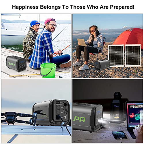 Portable Power Station, 384Wh LifePO4 Power Station, 300W Pure Sine Wave AC Outlet,USB,PD60W,DC12V, Solar Inverter Generators for Home Use or Camping or Emergency with MPPT BMS SMS