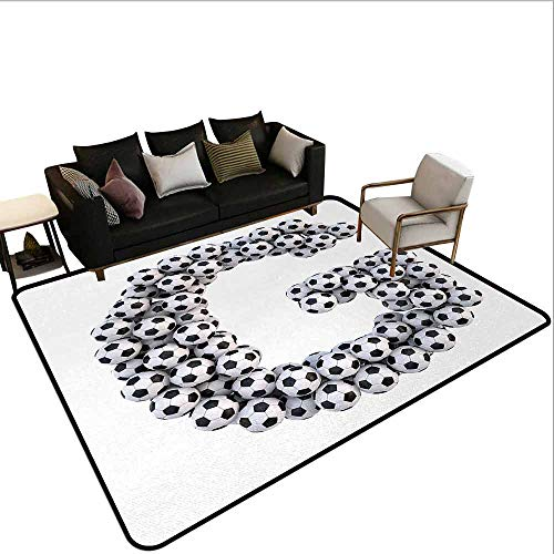 Bedroom Carpet Letter H,Soccer Balls Arrangement Game Day Theme Abstract Composition with Uppercase H,Black and White ()