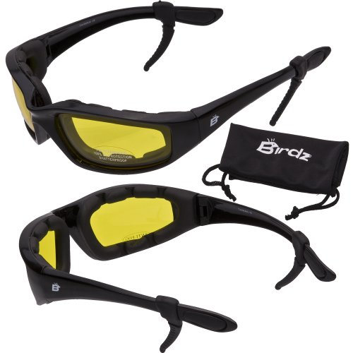 Birdz Oriole Motorcycle Padded Glasses YELLOW Anti Fog -FREE Rubber Ear - Glasses Yellow Motorcycle