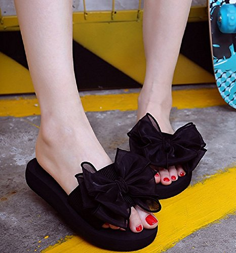 Bettyhome Women Lady Girls Sexy Flowers Thongs Comfortable Casual Wedges Sandals Beach Slippers Black R3WAY