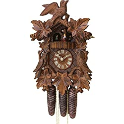 German Cuckoo Clock 8-day-movement Carved-Style 15.70 inch - Authentic black forest cuckoo clock by Rombach & Haas