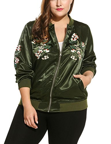 Beyove Women's Plus Size Vintage Embroidered Floral Phenix Casual Bomber (Green Embroidered Jacket)