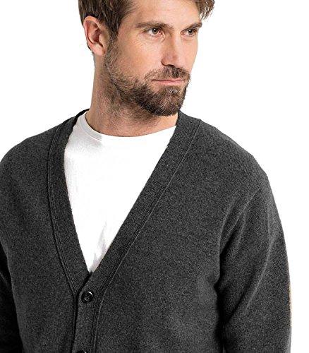 WoolOvers Strickjacke mit V-Ausschnitt aus Lammwolle für Herren Charcoal, XXL