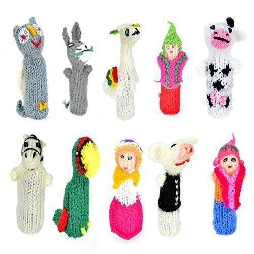 Madre Nature - Set of 10 Handmade Peruvian Finger Puppets - Fair Trade and Artisan Made - Variety of Cute Figures from South America - Great for Children, Teachers, Shows, Playtime, (Alien Princess Costume)