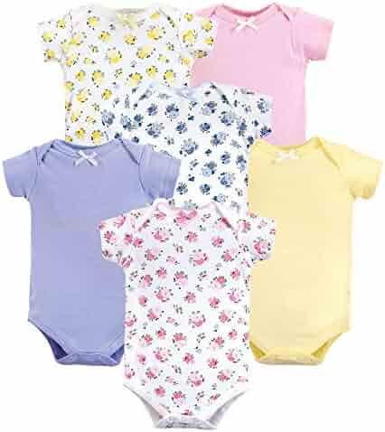 Luvable Friends Unisex Baby Cotton Bodysuits, Floral 6-Pack, 12-18 Months (18M)