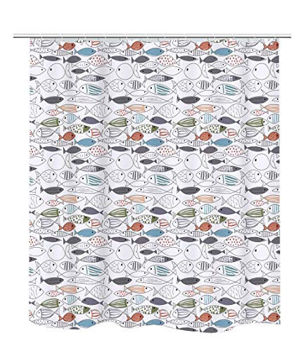 Becan Ocean Animal Modern Multi-Color Fish Art Fish Print Polyester Fabric Waterproof Layer Thickening Shower Curtain 72X72Inches