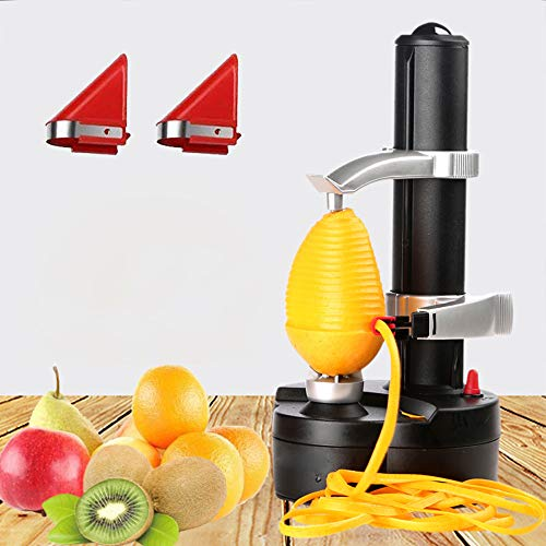 Mango Peeler - Kizove Multifunctional Electric Automatic Peeler Rotato Express Electric Peeler Automatic Rotating Fruits & Vegetables Cutter Apple Paring Machine with 2 Extra Blades (black)