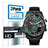 [3 Pack] MAXBEN for Ticwatch Pro Smartwatch Tempered Glass Screen Protector 9H Hardness HD 2.5D Arc Edges Film Anti-Scratch Skin Guard Bubble Free [Lifetime Replacement Warranty]