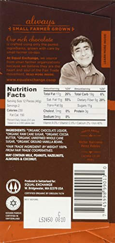 Equal Exchange Organic Very Dark Chocolate, 2.8 Ounce, Pack of 6 5 Contains 6 packs of 2.8 oz Very Dark Chocolate TASTE: Rich Dark Chocolate Bar Very Dark 71% Cacao.  Vegan, Soy & Gluten Free Crafted Soy & Gluten Free