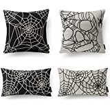 "Phantoscope Decorative Set of 4 Halloween 100% Cotton Embroidery Spider Web Black and White Throw Pillow Case Cushion Cover 18"" x 18"" 45 x 45 cm 12"" x 20"" 30 x 50cm"