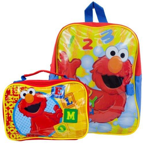 Sesame Street Elmo Toddler 12 Backpack Bonus Detachable Utility Bag (Blue/Yellow)