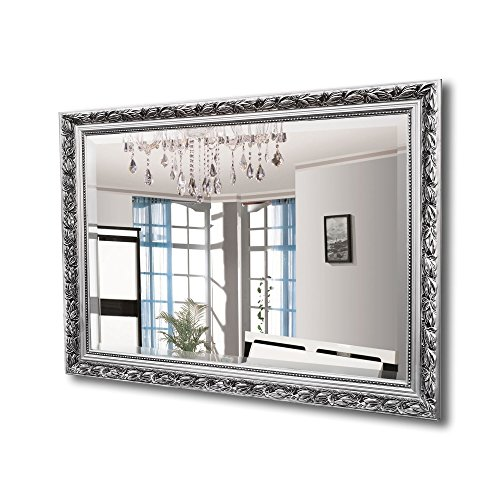 MIRROR TREND Antique Silver Rectangular Wall Mirror Baroque | Solid wood framed Mirrors | Beautiful Decoration for Living room, Bedroom, Vanity, Bathroom | Hangs Horizontal or Vertical 24
