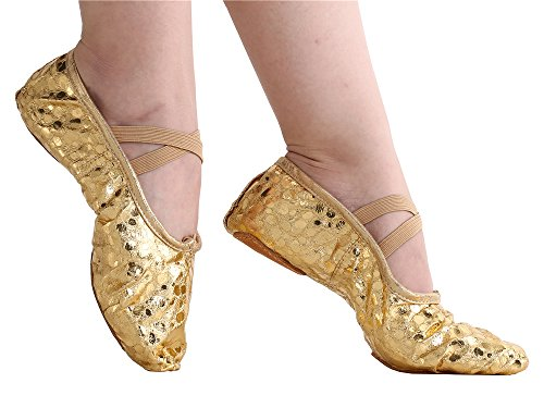 Women's Bright PU Leather Ballet Belly Slippers Ballroom Dance Shoes with Suede Split-sole