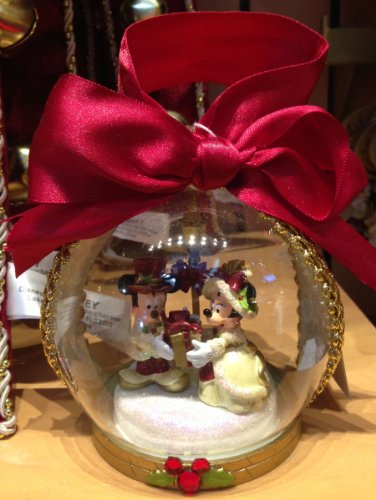 Disney Park Mickey Minnie Mouse Victorian Christmas Ornament Clear NEW