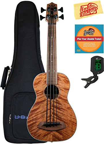 Kala U-Bass-EM-FL Exotic Mahogany Fretless Acoustic-Electric U-Bass Ukulele Bundle with Gig Bag, Tuner, Austin Bazaar Instructional DVD, and Polishing Cloth