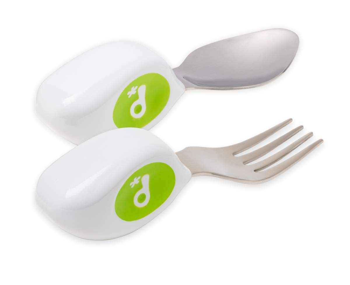 Aidez votre b/éb/é ou votre tout-petit /à sautoalimenter avec facilit/é en utilisant les couverts de la bonne fa/çon Doddl Spoon /& Fork Set Lime Green pour les b/éb/és ou les enfants de 12 mois et plus