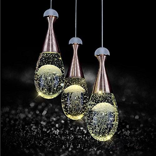 LgoodL Contemporary Jellyfish Bubble Crystal LED Pendant Lamp Ceiling Lighting Chandelier 3 Heads Long (Jellyfish Pendant Glass)