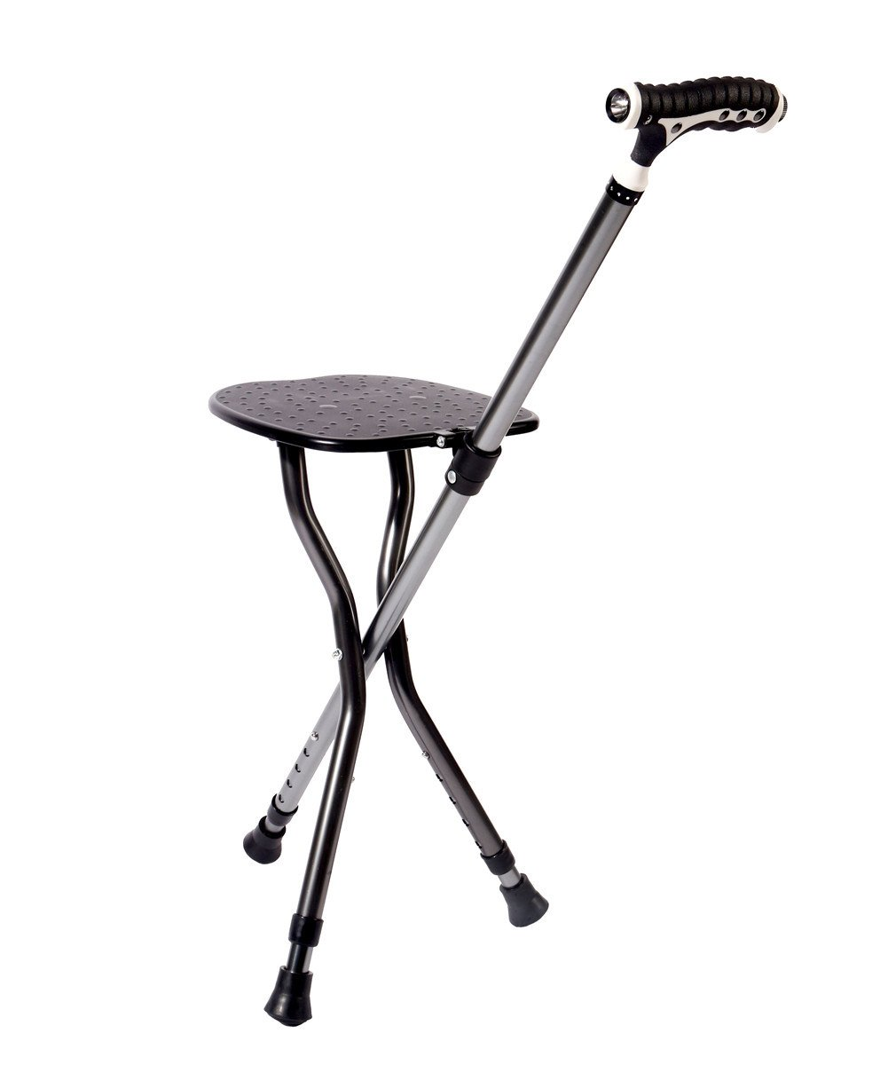 Best Health Cane Stool Golf Walking Seats Retractable Lightweight Walking Stick with LED Light for Elderly Outdoor Travel Rest Stool Folding Chair Replacement Large Weight Capacity (Black Cane seat)