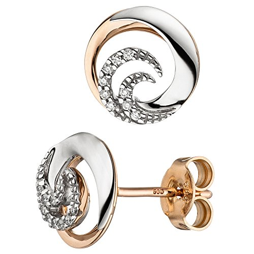 Jobo Paire de boucles d'oreilles en or blanc 585 or rouge bicolore 18 diamants brillants Boucles d'oreilles