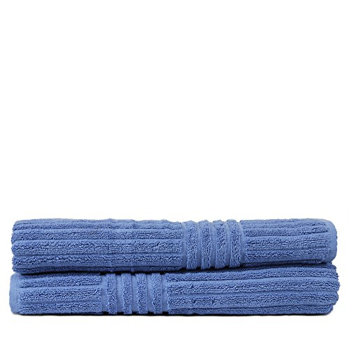 Luxury Hotel & Spa Towel 100% pure Turkish Cotton Ribbed Channel pattren - Bath Towel - Wedgewood - Set of (Pure Cotton Stripe Towel)