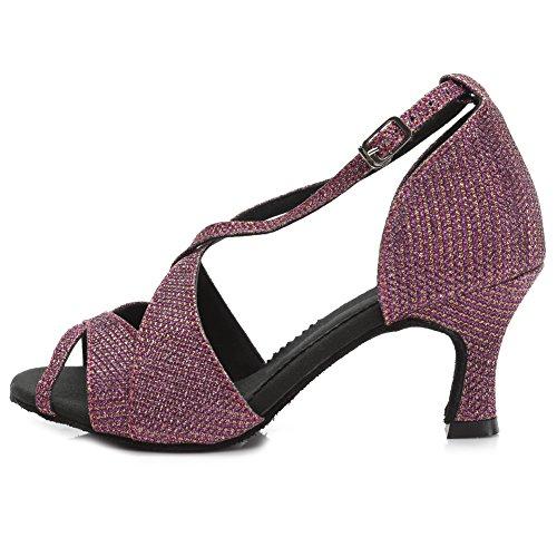 Hroyl Womens Scarpe Da Ballo Latino Tacco Medio Raso Tango Sala Da Ballo Ty-b62 7cm Viola