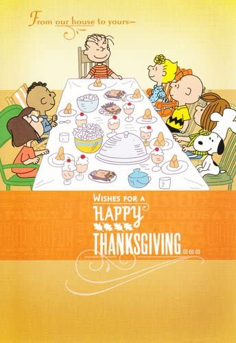 Amazon Com Charlie Brown And Friends Peanuts Thanksgiving Card From Our House To Yours Wishes For A Happy Thanksgiving Health Personal Care