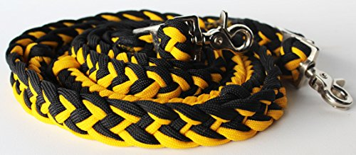 PRORIDER Barrel Racing Knotted Roping Horse Tack Western Braided Reins Nylon Yellow 60726