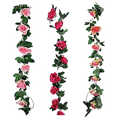Cogreen 3pcs Fake Flower Garland Artificial Rose Vine Hanging Floral Wall Decorations for Wedding Home Garden Party