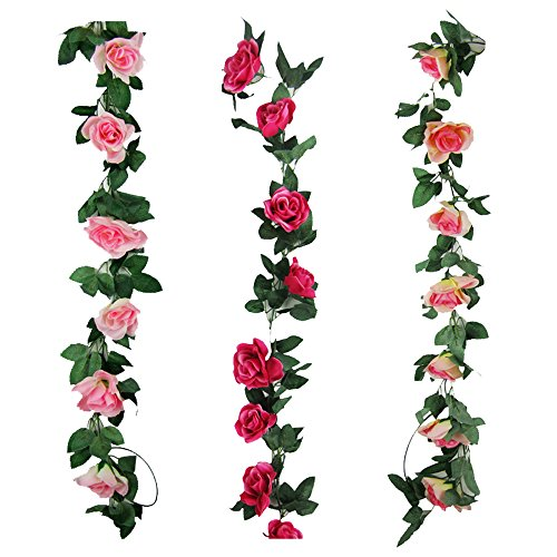 Garland Fresh (Cogreen 3pcs Fake Flower Garland Artificial Rose Vine Hanging Floral Wall Decorations for Wedding Home Garden Party (Champagne, Pink, Hot Pink))