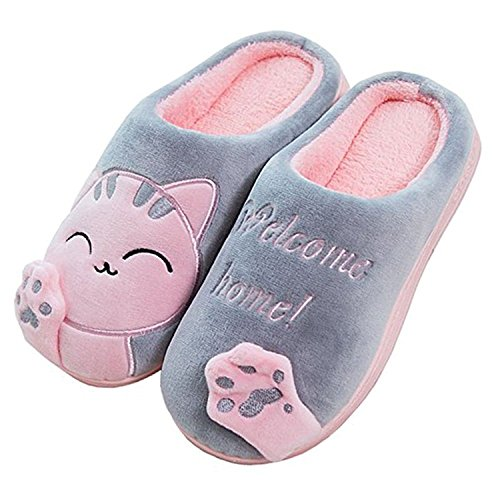 Coton Chat Chaud Chic Chaussons Gris Slipper Shoes A House Hommes Minetom Peluche Femmes Printemps AFxRR8Cq