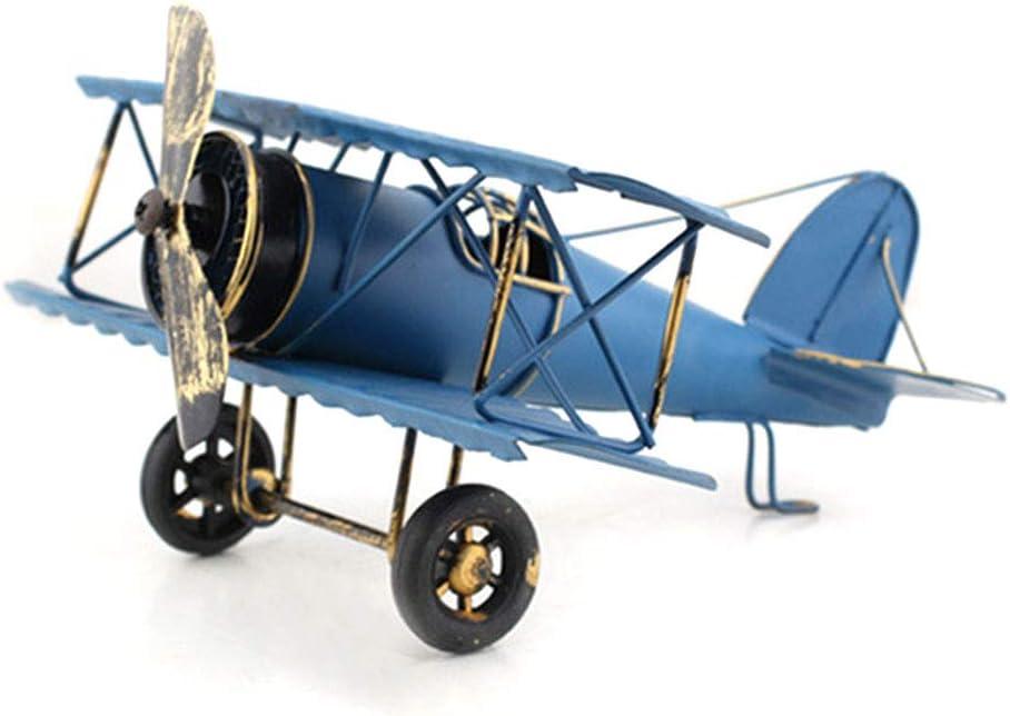 ReFaXi Decoración de avión Creativa Plancha Modelo de avión de Hierro Decoración Retro Forjado Artesanal Plano (Azul)