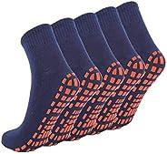 NOVAYARD 5 Pairs Non Slip Socks Non Skid Sticky Grip Socks Yoga Pilates Hospital Socks Men Women